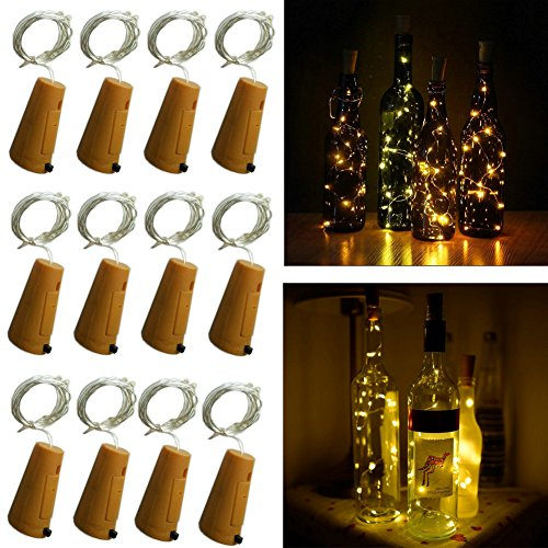 (10 LED Bulbs Cork Lights Battery Powered (12 pcs) - 39 Inch Long String Wine Bottle Cork Fairy Lights for Bottle DIY, Table Decorations, Christmas, Wedding, Dancing, Halloween, Party, Festival Decor)