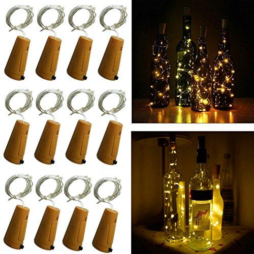 (10 LED Bulbs Cork Lights Battery Powered (12 pcs) - 39 Inch Long String Wine Bottle Cork Fairy Lights for Bottle DIY, Table Decorations, Christmas, Wedding, Dancing, Halloween, Party, Festival)