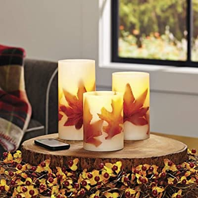 3-Pack LED Pillar Candles, Leaves