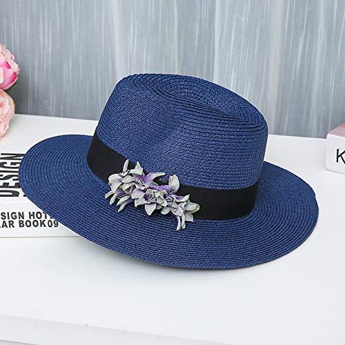 Summer Beach Sun Hats Clearance SaleQuaanti Women's Casual Foldable Striped Straw Sun Hat Floppy Wide Brim Beach Cap Flower Hats (Navy)