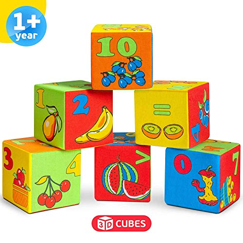 Foam Blocks Educational Toys for Toddlers - Colorful Soft Building Blocks - Activity Cube Squeeze Toys - 6 Blocks Maths-themed Infant Toys Stacking Blocks - Baby Toys 6 to 12 months for Boys Girls