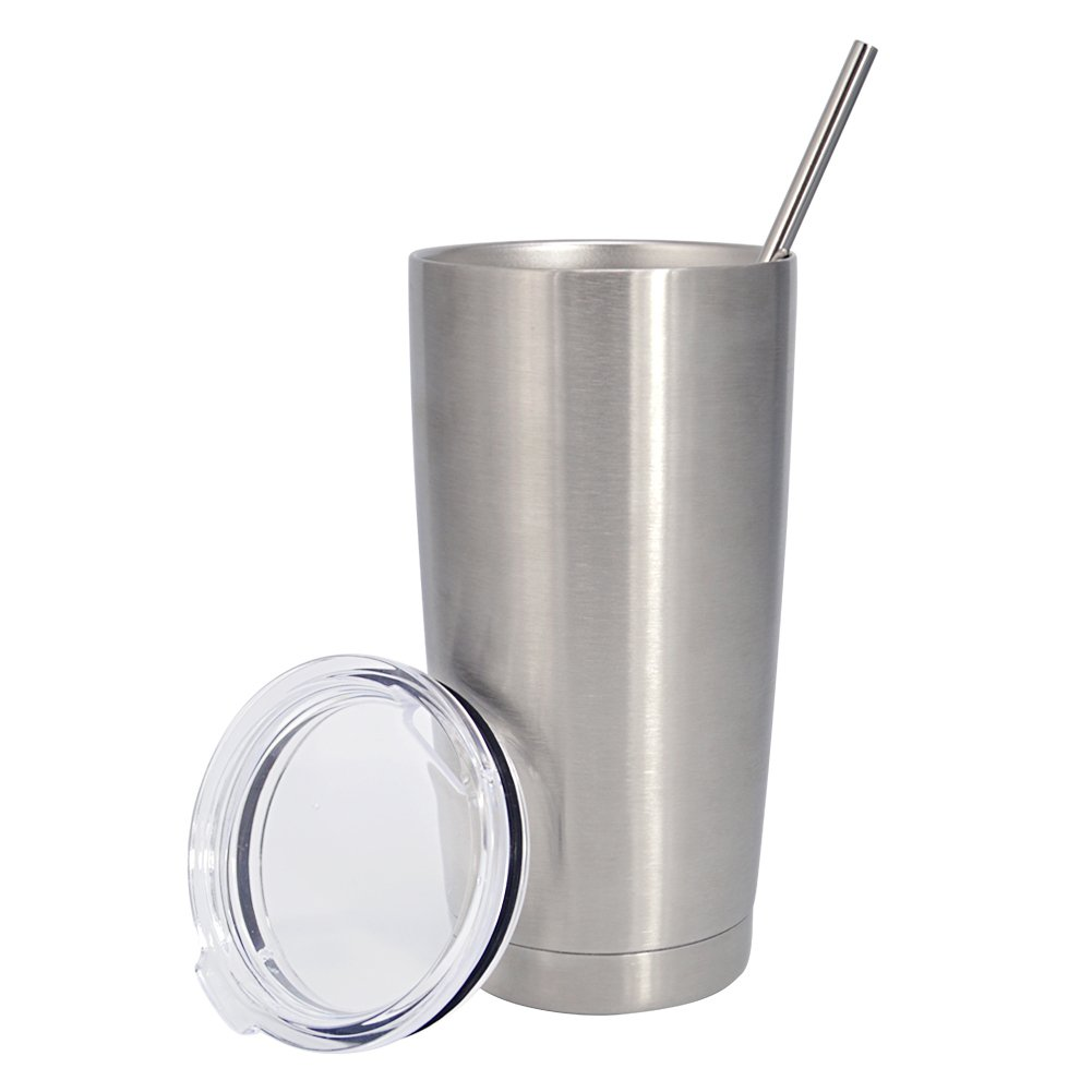 Coffee Travel Mug Cup Tumbler 20 oz for Hot and Cold Drinks 18/8 Stainless Steel Double Walls Vacuum Insulated Mug Set with Lid and Straw