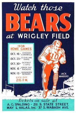 "Chicago Bears Wrigley Field 1938 Game Schedule Poster Large 13"" x19"""