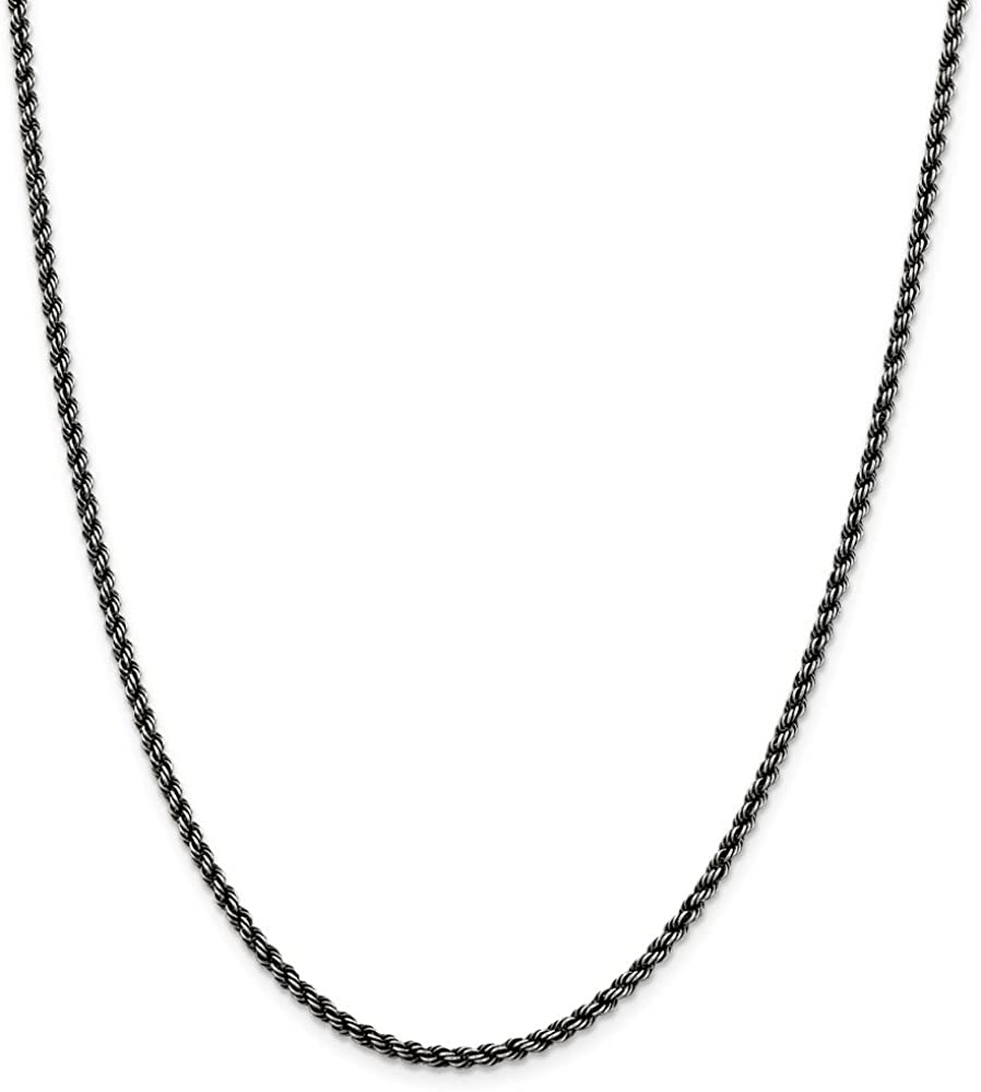 Brilliant Bijou .925 Sterling Silver Ruthenium Rope Chain Necklace Width 4 mm
