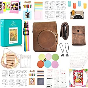 HelloHelio 16-in-1[premium Pack] Accessories Bundles for Fujifilm Instax Mini 70 Instant Film Camera -Brown