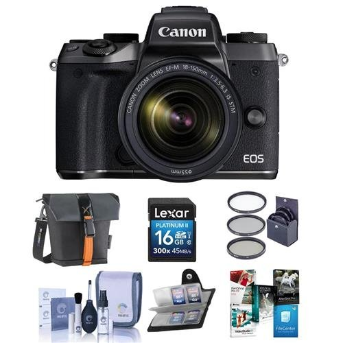 Canon-EOS-M5-Mirrorless-Digital-Camera-Kit-with-EF-M-18-150mm-f35-63-IS-STM-Lens-Bundle-with-Holster-Case-16GB-SDHC-Card-55mm-Filter-Kit-Cleaning-Kit-Memory-Wallet-Software-Package