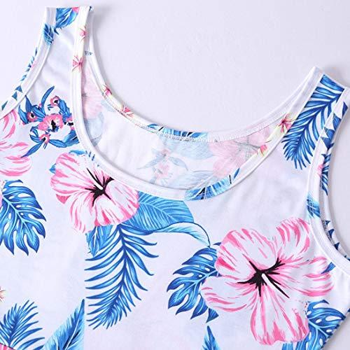 Ropa de Verano Sin Playa Chaleco Estampado con Mangas A Camisetas Vestido Retro Mujer Mini Logobeing Falda Vestidos AqZ5qwd