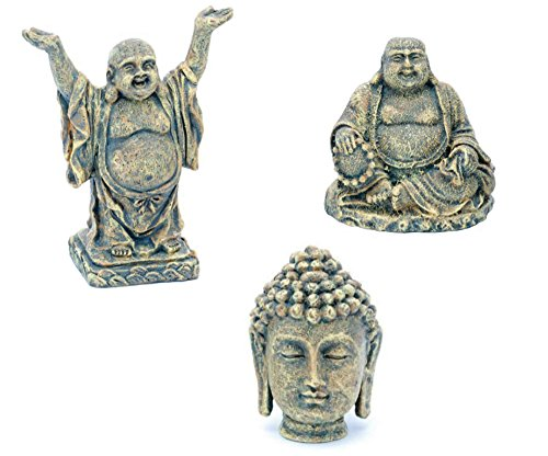 Penn Plax Aquarium Ornaments Mini Buddha Collection (Sit, Stand, Head)~3pk by Penn Plax