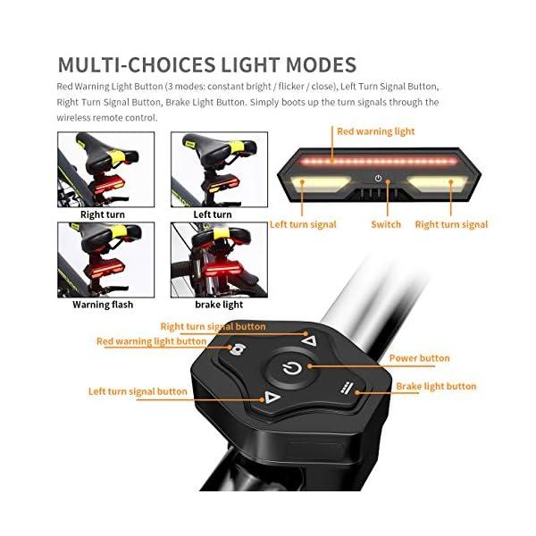 MojiDecor Fanale Posteriore per Bicicletta Impermeabile USB Ricaricabile Luce Posteriore Bici con LED Indicatore di Direzione 3 Modalità d'Illuminazione Lampada per Mountain Bike Bicicletta 4 spesavip