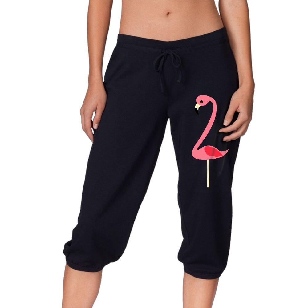 Women's Novelty Performance Flamingo Print Crop Sweatpant Capri Pants Drawstring Legging Pants Black Medium