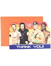 Amscan Grand Slammin' WWE Birthday Party Postcard Thank You Cards Supply (8 Pack), 4 1/4
