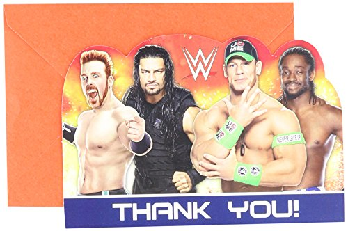 Kingston Party Supplies (Amscan Grand Slammin' WWE Birthday Party Postcard Thank You Cards Supply (8 Pack), 4 1/4