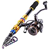 Sougayilang Fishing Rod with Reel Combo H-Shark, Telescopic Spinning Travel Portable Bass Fishing Gear Kits (5.9FT+WQ2000)