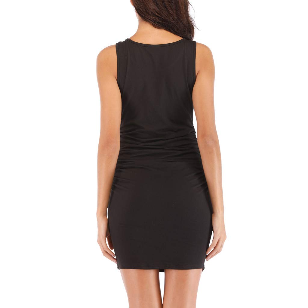 Kalinyer Women's Sexy Ruched Bodycon Dress Casual Solid Sleeveless Round Neck Knee Length Tank Mini Party Club Dress Black by Kalinyer (Image #4)