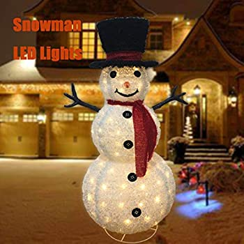 Tall Lighted Sparkling Festive Frosty The Snowmen Christmas Yard Stake 4 Ft