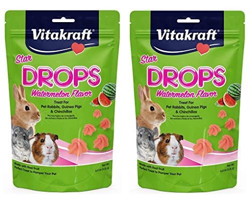 Vitakraft 2 Pack of Star Drops Treats, 4.4 Ounces Each, Watermelon Flavor, for Pet Rabbits, Guinea Pigs and ()