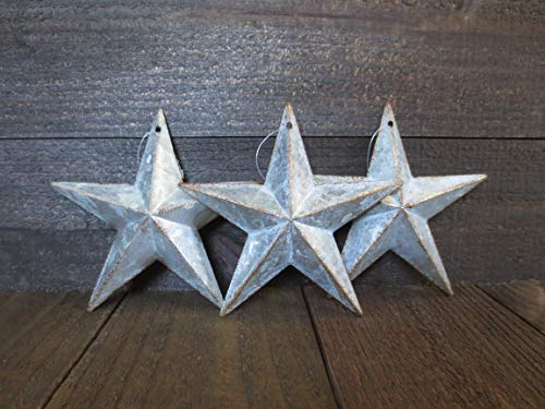 3 Galvanized Barn Stars 6 inches Dimensional Rustic Country Farmhouse Wall Decor