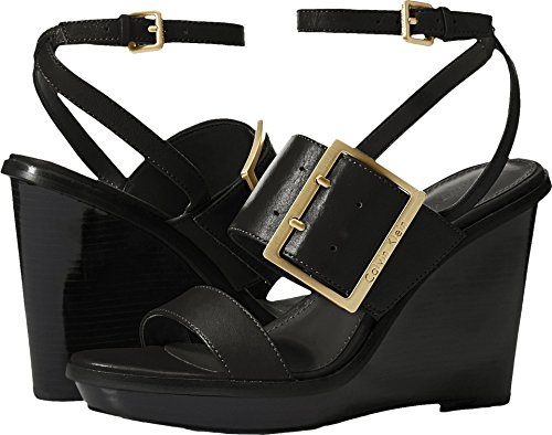 Calvin Klein Women's Pemba Wedge Sandal, Black, 7 Medium US