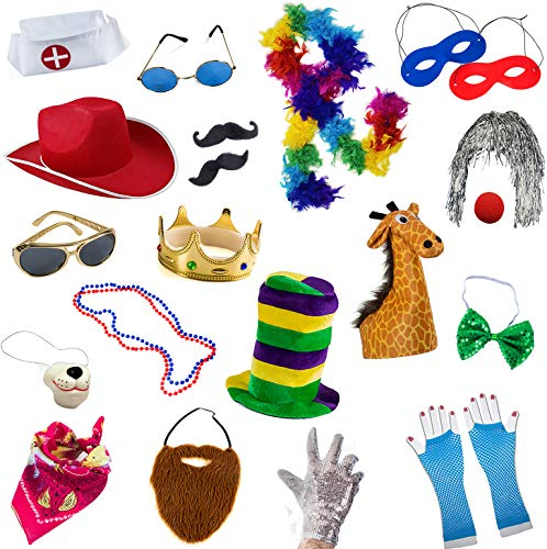 Photo Booth Props Hats (Funny Party Hats Photo Booth Props - Photo Booths for Parties - 18 Pc. Assorted Photo Booth Kit (18 Pc Adult)