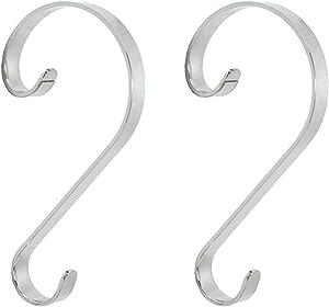 Haute Decor Stocking Scrolls Stocking Hanger - 2 Pack (Silver)
