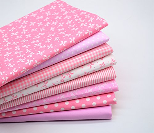 iNee 8 PCS Quilting Fabric Pink Fat Quarters Bundles for Quilting Sewing DIY Craft, 18