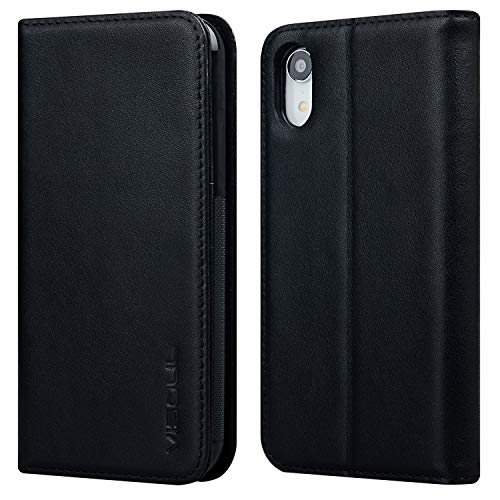 iPhone XR Wallet Case, Visoul [Folio Style] Real Leather Cases for iPhone xr [Stand Feature] Protective Flip Cover with Credit Card Slots+Side Cash Pocket+Magnetic Clasp Closure (Black) - Iphone Style Phones