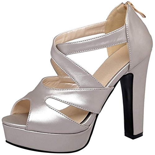 Sandales Escarpins RAZAMAZA Femmes Mode Silver Hauts Talons qfa1Fw
