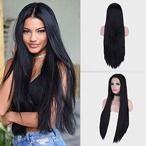 PINKSHOW Long Straight wig Black Lace Front Wig for Women Heat Resistant Synthetic Hair Replacement Wigs Decent Parting Natural Hairline Half Hand Tied Lace Frontal Extra Long Hair30 Inch(Jet Black)