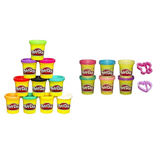 Play-Doh 10-Pack of Colors (Amazon Exclusive) with Play-Doh Sparkle Compound Collection Bundle