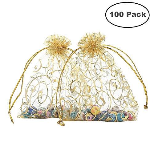 Foxnovo Organza Drawstring Gift Bags (100Pcs-Golden)