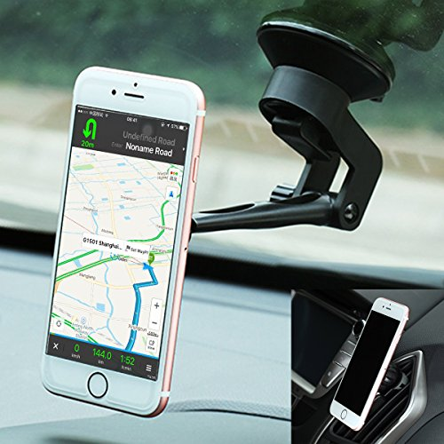 Car Mount, 2-in-1 Universal Smartphones Windshield Phone Holder Air Vent Mount Cell Phone Car Holder Cradle for iPhone SE 6s 6 Plus 6 5s 5 4s 4 Samsung Galaxy S6 S5 S4 LG Nexus and More