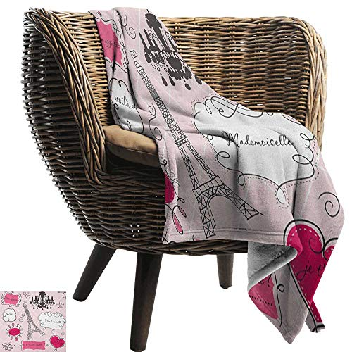 (Sunnyhome Teen Room,Weave Pattern Extra Long Blanket,Doodle Frames in French Style Rococo Baroque Lantern Mademoiselle Print 60