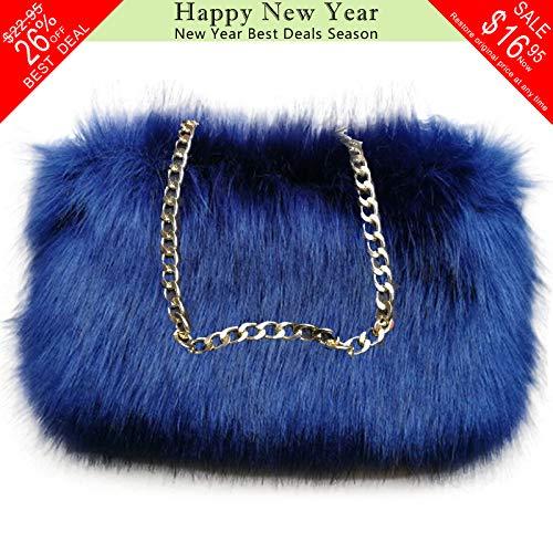 FAITH YN Faux Fox Fur Handbag Coin Purse Navy Blue Shoulder Bag Backpack Cosmetic Bag for Women [Navy Blue]