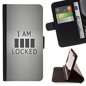 BullDog Case - FOR/Samsung Galaxy A3 / - / locked funny quote sign code art life love /- Monedero de cuero de la PU Llevar cubierta de la caja con el ID Credit Card Slots Flip funda de cuer