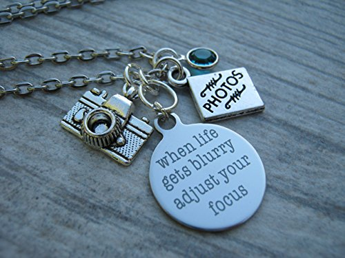 Personalized Photographer Necklace, When Life Gets Blurry Adjust Your Focus Necklace, Photography Jewelry, Birthstone - Album Swarovski