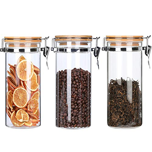 (Borosilicate Glass Storage Jars Canisters With Airtight Locking Clamp Bamboo Lids,Air Tight Food Storage Containers For Kitchen ,Coffee Beans Loose Tea Sugar Jar ,40Floz 3-Piece Set)
