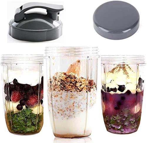 Stay-Fresh Resealable Cup Lids & Flip Top to-go Lid - Replacement Parts for 600w & 900w NutriBullet Blender 32/24/18OZ Cups