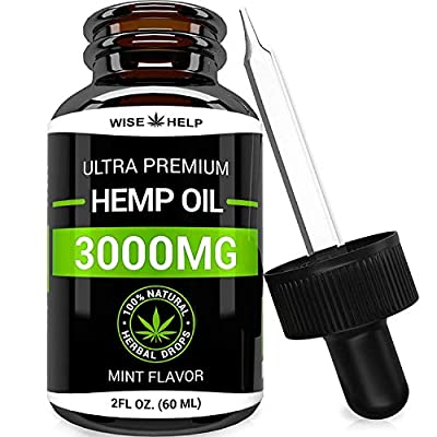 Hemp Oil Drops (3000 MG) - Ultra Premium Formula - All Natural Anxiety, Sleep and Mood Support - Provides Pain and Inflammation Relief - Best Mint Flavor Made in USA