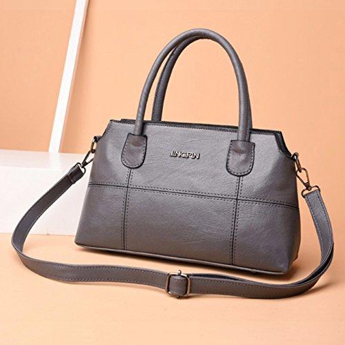 Bangle009 Handbag Capacity Shopping Zipper Red Shell Vintage Shoulder Big Promotion Women Large Bag Tote Grey rn0rqC