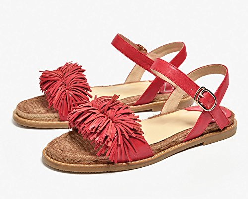 Fringed Women Leather Flats Strap Tassels Red for Honeystore Beach Shoes Flats Sandals CaRtwqt