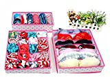 Yuchoi Perfectly Shaped 3 Pcs Pink Dot Non-woven Design Home Folding Storage Box Sock Underwear Boxes (Rose Red)