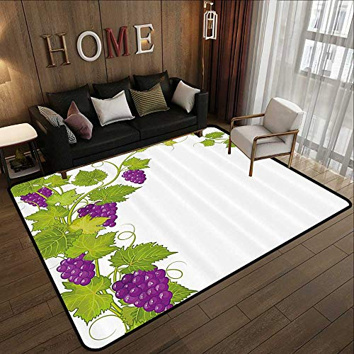 Office Floor mats,Grapes Home Decor,Latin Brochure Label Italian Town Province Vintage Menu Sign Artwork,Violet Green 78.7