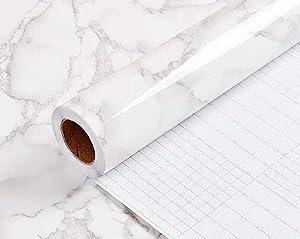 "Yancorp 17.9""x78.7"" Marble Contact Paper 1.49ft x 6.56ft Removable Wallpaper Film Self-Adhesive Granite Sticker Kitchen Peel Stick Backsplash Marble Tile Countertop Shelf Liner (Big, White Gray)"