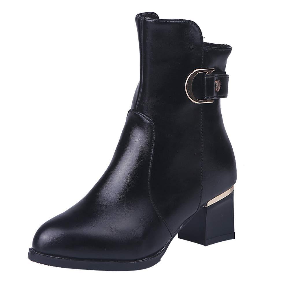 Botas Casual tacon alto moda lady,Sonnena Botines cortos de mujer tobillo Bota de cremallera de Casual Botas de cuero de tubo medio: Amazon.es: Hogar