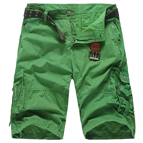 MIS1950s Men's Classic-Fit Cargo Short Men's Belted Messenger Cargo Short - Pocket and Big and Tall Sizes Men?s Canvas Utility Hiker Short