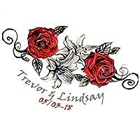 Tatuaje temporal personalizado de flores | Fake rose extraíble tatuajes personalizados y diseños personalizados | Etiqueta engomada plantillas tatoo pegatinas pegatinas ideas. Dura de 2 a 5 días y continúa con agua. Pegatinas de fiesta extraíbles - tatuajes temporales flore temporary tattoo