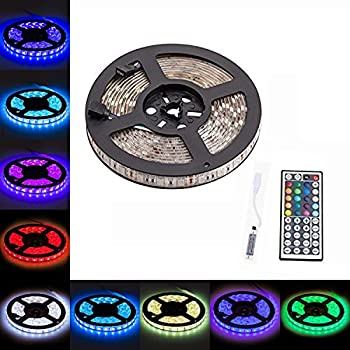 LTROP 16.4FT SMD 5050 Waterproof 300LEDs RGB Flexible LED Strip Light Lamp Kit + Mini 44Key IR Remote Controller(Power supply is not included)