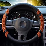 "Image of Leather Steering Wheel Covers for women,14.56-14.96"",for Honda/Toyota Vehicles,Orange,M"