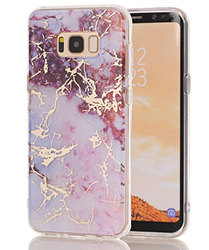 Galaxy S8 Plus Case,Spevert Marble Pattern Hybrid Hard Back Soft TPU Raised Edge Ultra-Thin Shock Absorption Slim Protective Cover Case for Samsung Galaxy S8 Plus/S8+ (Pink Red)