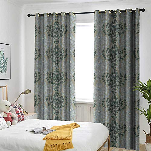 Prairie Velvet Natural Fabric - Bedroom Curtains The Shade Room darkens The bedroom's Insulated Curtain Ring Floral,Abstract Art Damask Desgin Floral Ornament Background Wallpaper Pattern Print,Blue and Taupe